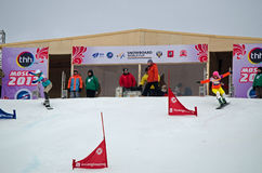 Snowboard sportswomen Stock Images