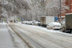 Snow storm on city street Stock Photos