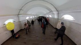 Rush hour in the subway, a crowd of people in the underground passage. Moscow - February 19, 2017: Rush hour in the subway, a crowd of people in the underground stock video footage