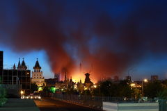 Moscow Fire City Evening Urban Stock Images