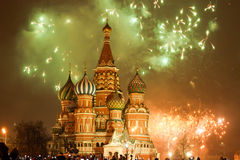 Moscow fireworks on New Year evening Stock Photography