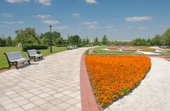 Moscow, Flower Alley in Tsaritsyno. Moscow, Russia - July 31, 2012: Flower Alley in Tsaritsyno museum-estate, nobody Royalty Free Stock Photos