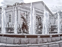 Moscow. Fountain. Manezhnaya Square  and Alexander Garden. Infra Stock Image