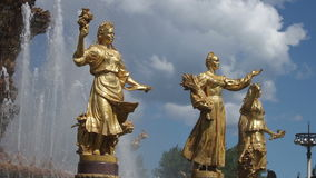 Moscow fountain statues stock video footage