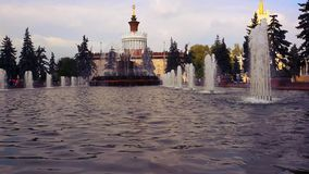 Moscow, fountain . Stone flowe in main national stock video footage