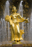 Moscow fountain to be friends peoples Royalty Free Stock Photos