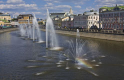 Moscow, fountains on channel Stock Photo
