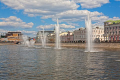 Moscow, fountains in the drainage channel Stock Image