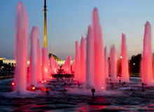 Moscow, fountains on Poklonnaya hill Royalty Free Stock Images