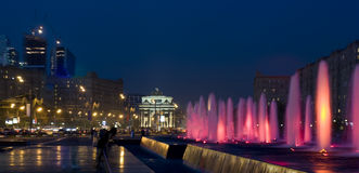 Moscow, fountains and Triumphal arch Stock Images