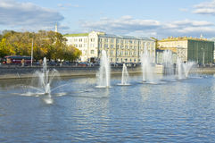 Moscow, fountains on Vodootvodniy channel of Moscow-river Royalty Free Stock Photo