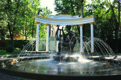 Moscow garden with fountain Royalty Free Stock Images