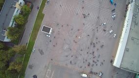Moscow gathering bikers aerial drone. Moscow Mart. The gathering of bikers, aerial with drone. Many people stock video