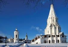 Moscow godsmuseum Kolomenskoe i vinter Arkivbild