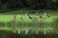 Moscow Golf club. Golfclub in Moscow, players will be moved to new positions Stock Photo