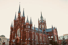 Moscow Gothic Catholic cathedral Stock Images
