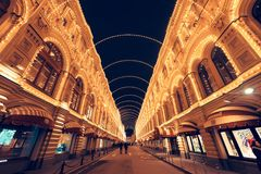 Moscow GUM with backlight. royalty free stock images