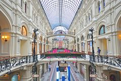 Moscow gum shopping centre. MOSCOW, RUSSIA - APRIL 26: Interior of GUM shopping centre in Moscow city on April 26, 2015. Moscow is the capital and largest city Stock Photos