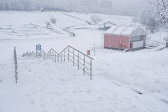 Moscow / Heavy snowfall in the park stock image