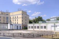 moscow Helipad på institutet av nöd- omsorg Sklifosovsky Arkivbild