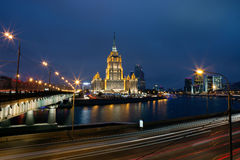Moscow. High-rise building on the banks of the Moscow river in the evening. Stock Photography