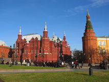 Moscow, Historical museum and Kremlin tower Stock Photography