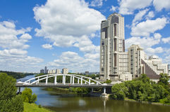 Moscow, Horoshevskiy bridge and modern skyscraper Stock Image