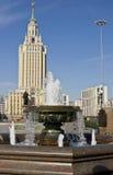 Moscow, htel Leningradskaya Hilton. MOSCOW - JUNE 23, 2010: hotel Leningradskaya Hilton on Komsomolskaya square, has been built in 1954 Stock Image