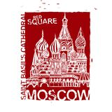 Handdrawn Moscow Image. Moscow image with Saint Basil s Cathedral. Vector hand drawn typography illustration. Russian decorative background in red and white Stock Photo