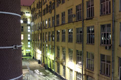 Moscow. The internal office yard in the night Stock Image