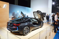 Moscow International Automobile Salon BMW i8 With raised upstairs doors Premium Stock Photos