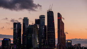 Moscow international busines city. Sunset time stock footage