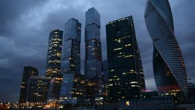 Moscow International Business Center Moscow City at night stock video