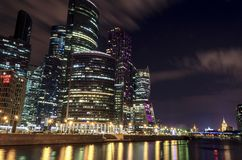 Moscow international business center Moscow City at night. Urban landscape metropolis night with skyscrapers Royalty Free Stock Photo