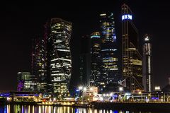 Moscow international business center Moscow City at night. Urban landscape metropolis night with skyscrapers Stock Photo