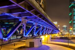 Dorogomilovsky highway bridge near the business district `Moscow-city` royalty free stock images