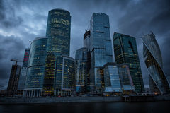 Moscow International Business Center, Moscow-City in night Stock Photo