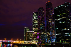 Moscow International Business Center Moscow City at night Stock Image