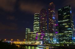 Moscow international business center Moscow City at night. Urban landscape metropolis night with skyscrapers Royalty Free Stock Photography