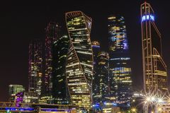 Moscow international business center Moscow City at night. Urban landscape metropolis night with skyscrapers Royalty Free Stock Images