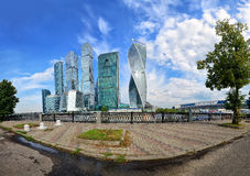 Moscow International Business Center Moscow City. Panoramic view of the Moscow International Business Center Moscow City on a background of blue sky with white stock photos