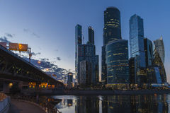 The Moscow international business center. Moscow City. Skyscrapers. Evening. Royalty Free Stock Photography