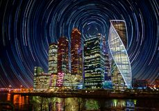Moscow International Business Center at night. Moscow International Business Center at night with bright stars trails.  Moscow, Russia.  Elements of this image Royalty Free Stock Images