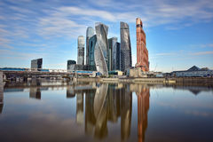 Moscow International Business Center and pedestrian bridge Bagration. Moscow, Russia Stock Images