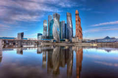 Moscow International Business Center and pedestrian bridge Bagration. Moscow, Russia. Stock Image