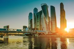 Moscow international business center, Russia. Moscow international business center Moscow-city at sunset, Russia royalty free stock photos