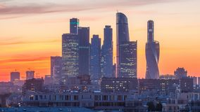 Moscow International Business Center and Moscow urban skyline after sunset day to night timelapse. Moscow International Business Center and Moscow urban skyline stock footage