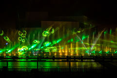 Moscow International Festival Circle of light. Laser colorful fountain show on Moscow rowing basin Stock Photos