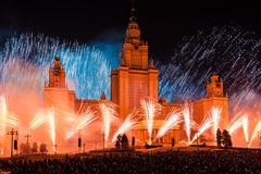 Moscow International Festival Circle of light. Pyrotechnic fireworks show on Moscow State University Royalty Free Stock Images
