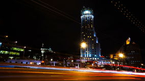 Moscow International House of Music at night. Time-lapse. 4K stock footage